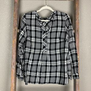 Talbots Plaid Tunic Cotton Top Med